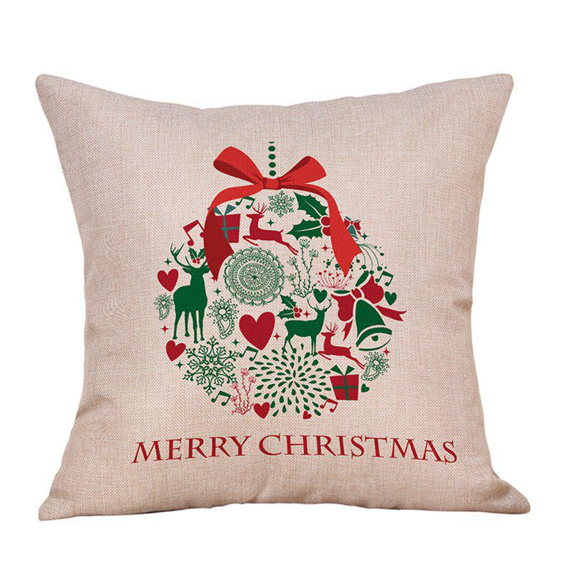 Christmas Bowknot Wreath Print Decorative Linen PillowcaseHOME<br><br>Size: W18 INCH * L18 INCH; Color: COLORMIX; Material: Linen; Pattern: Animal,Letter; Style: Festival; Shape: Square; Weight: 0.0900kg; Package Contents: 1 x Pillowcase;