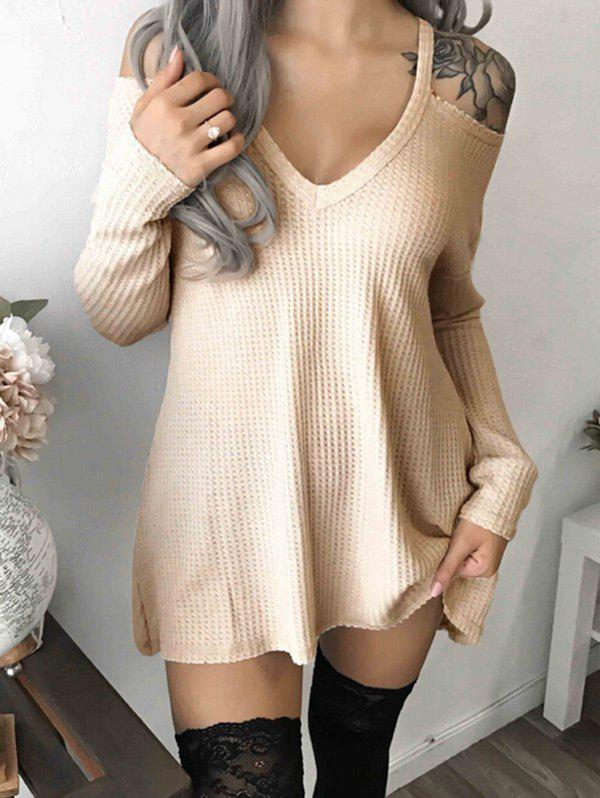Hot V Neck Cold Shoulder Tunic Dress
