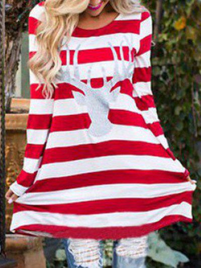 Christmas Elk Striped T-shirt DressWOMEN<br><br>Size: 2XL; Color: RED; Style: Casual; Material: Cotton,Polyester; Silhouette: Shift; Dresses Length: Mini; Neckline: Round Collar; Sleeve Length: Long Sleeves; Pattern Type: Others; With Belt: No; Season: Fall,Winter; Weight: 0.3300kg; Package Contents: 1 x Dress; Occasion: Casual;