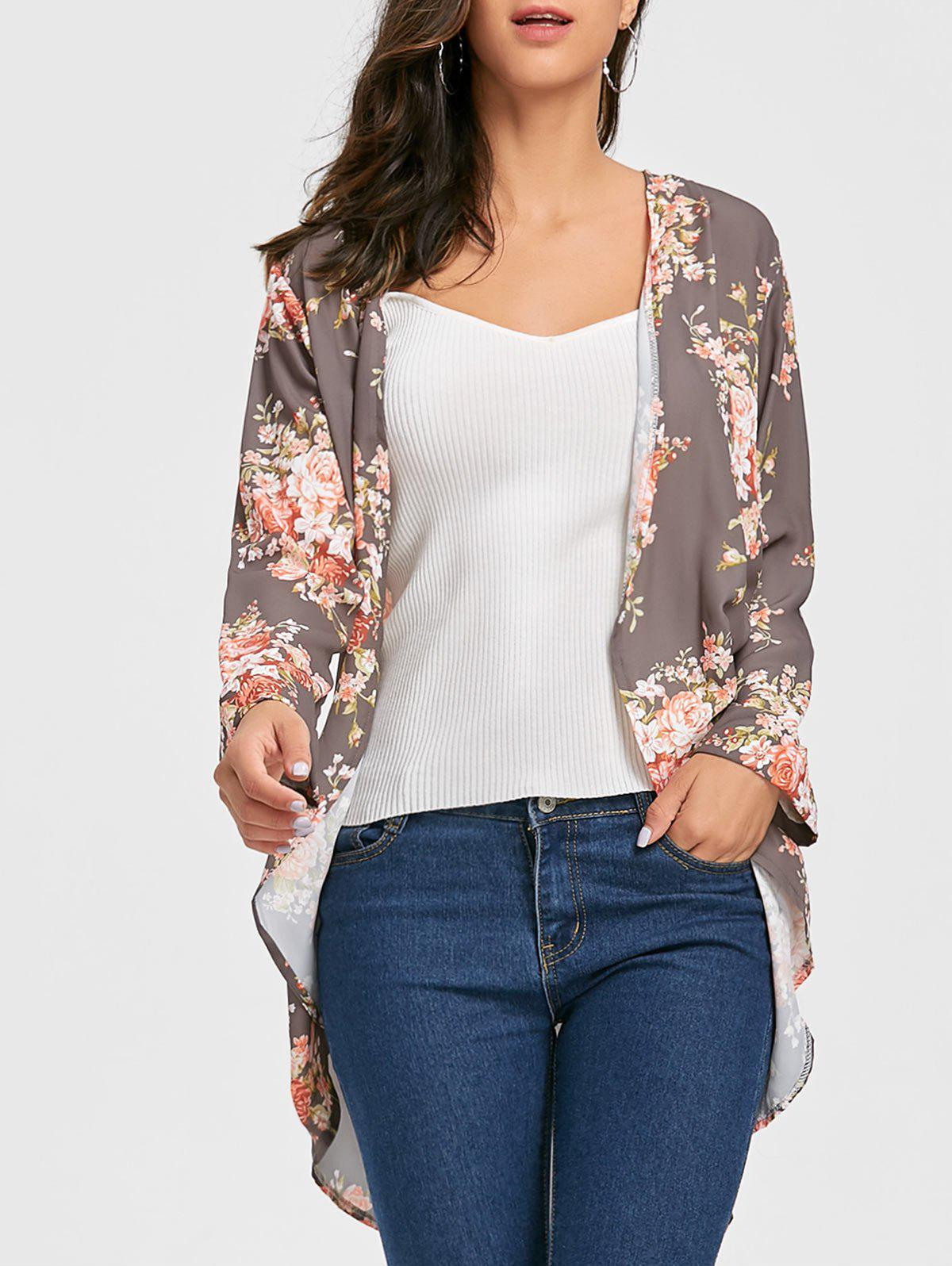 Floral Open Front Chiffon CardiganWOMEN<br><br>Size: M; Color: GRAY; Type: Cardigans; Material: Polyester; Sleeve Length: Three Quarter; Collar: Collarless; Style: Fashion; Pattern Type: Floral; Season: Fall,Spring; Weight: 0.2700kg; Package Contents: 1 x Cardigan;