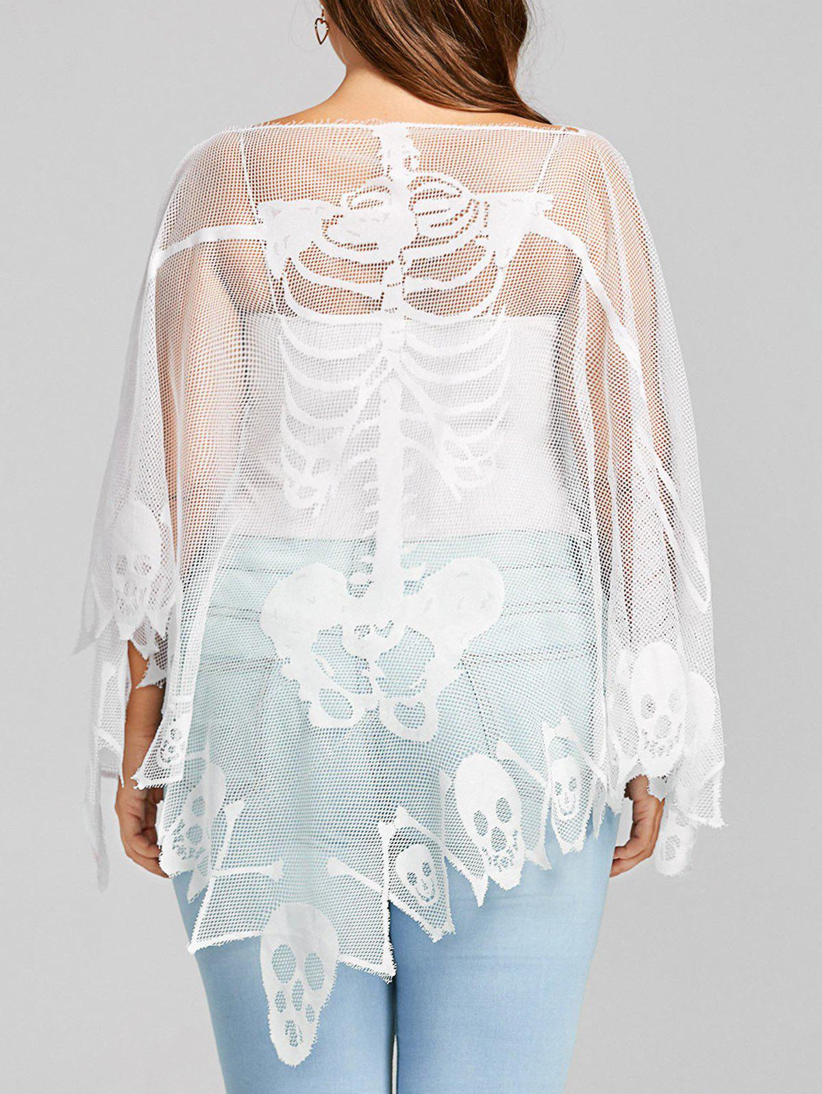 Plus Size Batwing Sleeve Sheer Skull Mesh T-shirtWOMEN<br><br>Size: ONE SIZE; Color: WHITE; Material: Polyester; Shirt Length: Long; Sleeve Length: Full; Collar: Boat Neck; Style: Fashion; Season: Fall,Spring; Sleeve Type: Batwing Sleeve; Pattern Type: Skulls; Weight: 0.1450kg; Package Contents: 1 x T-shirt;