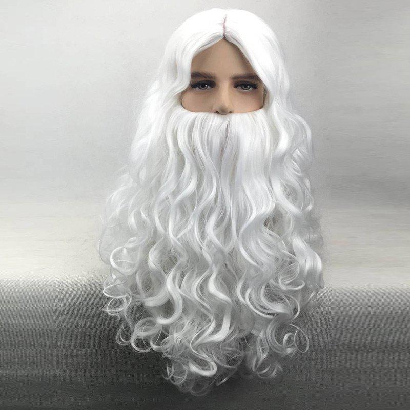 Long Middle Part Curly Christmas Santa Claus Wig With BeardHAIR<br><br>Color: WHITE; Type: Full Wigs; Cap Construction: Capless; Style: Curly; Cap Size: Average; Material: Synthetic Hair; Bang Type: Middle; Length: Long; Occasion: Christmas Day; Length Size(CM): 70; Weight: 0.4200kg; Package Contents: 1 x Wig;
