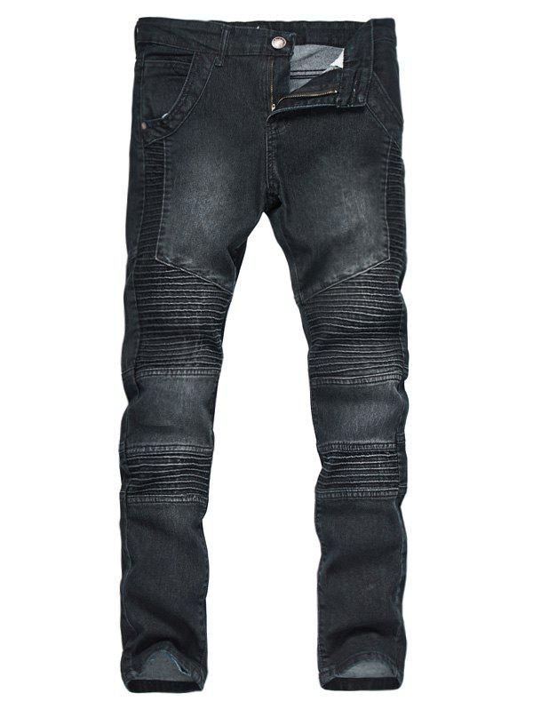 Accordion Pleat Zipper Fly Bleached Biker JeansMEN<br><br>Size: M; Color: BLACK; Material: Cotton,Jean,Polyester; Pant Length: Long Pants; Wash: Bleach; Fit Type: Regular; Closure Type: Zipper Fly; Weight: 0.6000kg; Package Contents: 1 x Jeans; With Belt: No;
