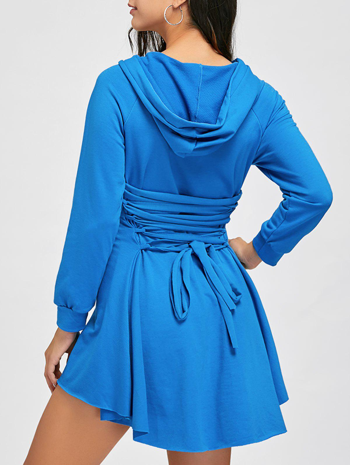 Discount Back Lace Up High Low Hooded Dress