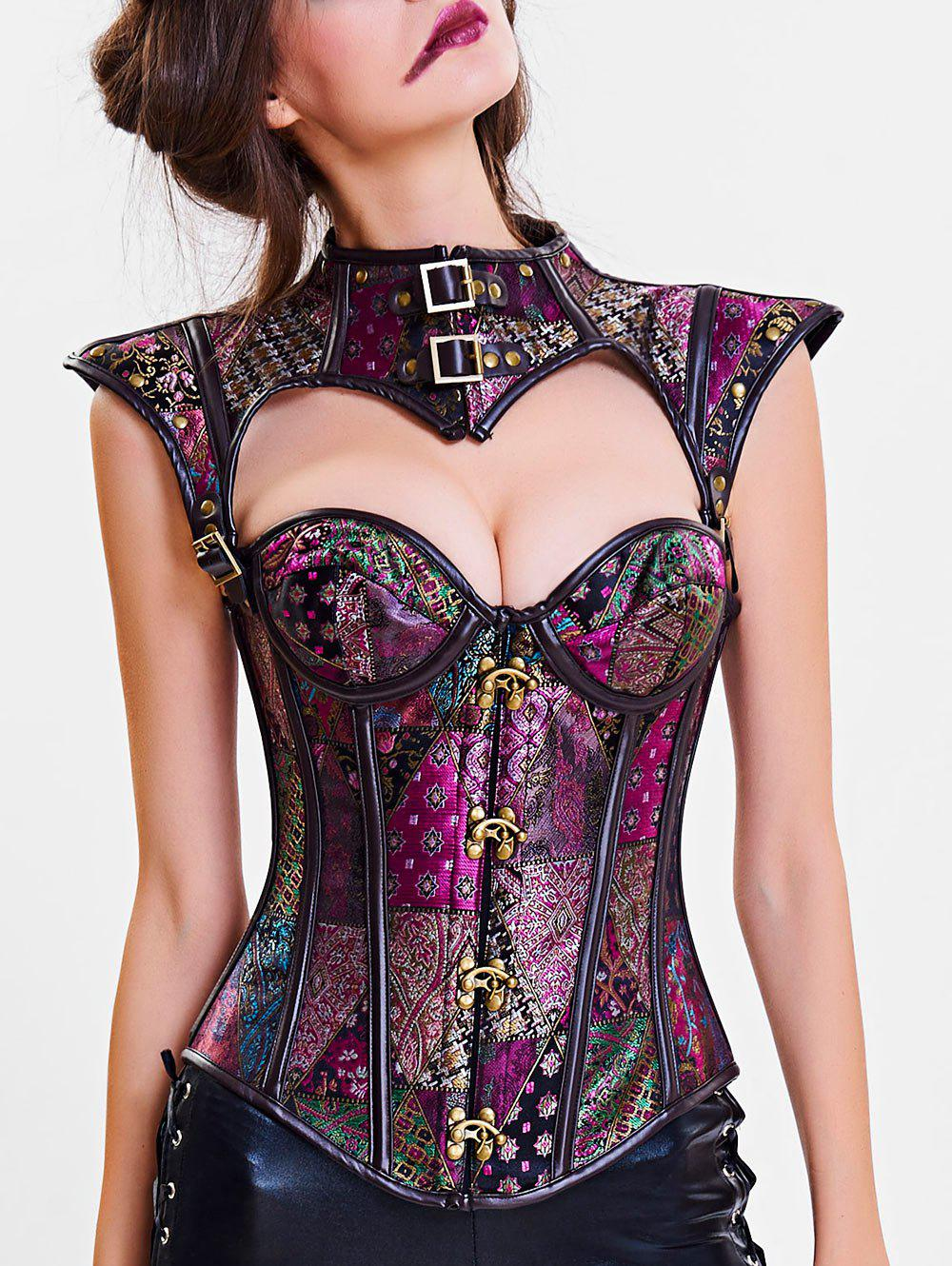 Online Steel Boned Cut Out Corset Vest