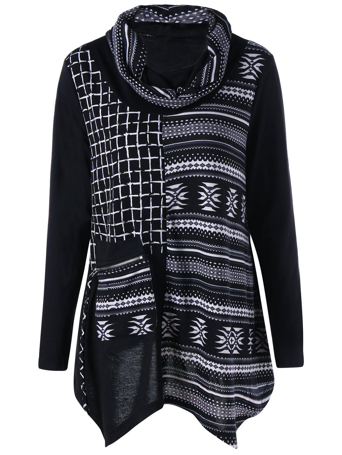 Plus Size Zipper Pocket Cowl Neck TopWOMEN<br><br>Size: 4XL; Color: BLACK; Material: Polyester,Spandex; Shirt Length: Long; Sleeve Length: Full; Collar: Cowl Neck; Style: Casual; Season: Fall,Spring; Embellishment: Pockets; Pattern Type: Plaid; Weight: 0.3700kg; Package Contents: 1 x Top;