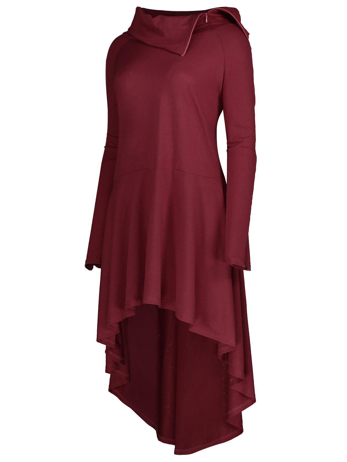 Lapel Plus Size Lace-up High Low HoodieWOMEN<br><br>Size: 3XL; Color: WINE RED; Material: Polyester,Spandex; Shirt Length: X-Long; Sleeve Length: Full; Style: Fashion; Pattern Style: Others; Season: Fall,Spring; Weight: 0.5500kg; Package Contents: 1 x Hoodie;