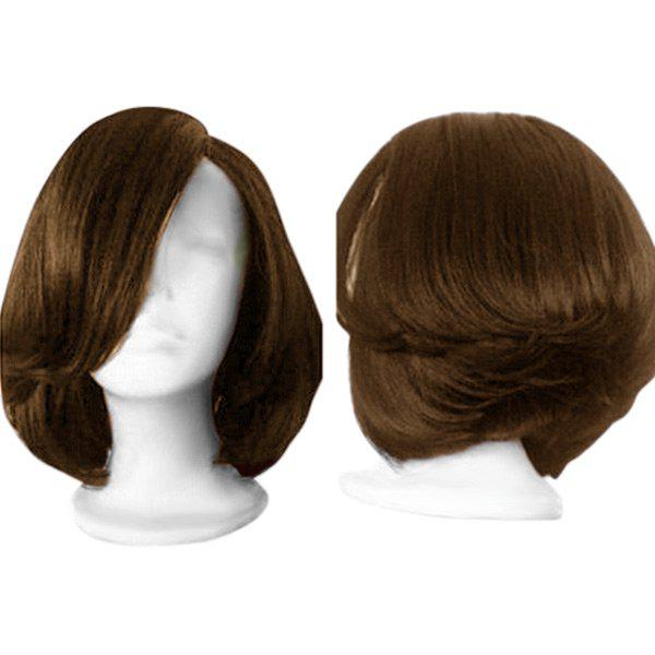 2018 Side Parting Straight Short Feathered Bob Synthetic Wig In