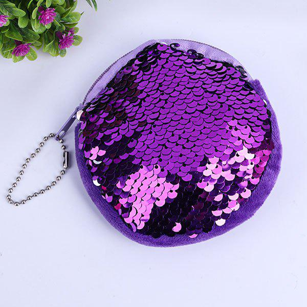 Round Zipper Glitter Sequins Coins PurseHOME<br><br>Color: PURPLE; Products Type: Coin Purse; Style: Fashion; Package Contents: 1 x Coin Purse;