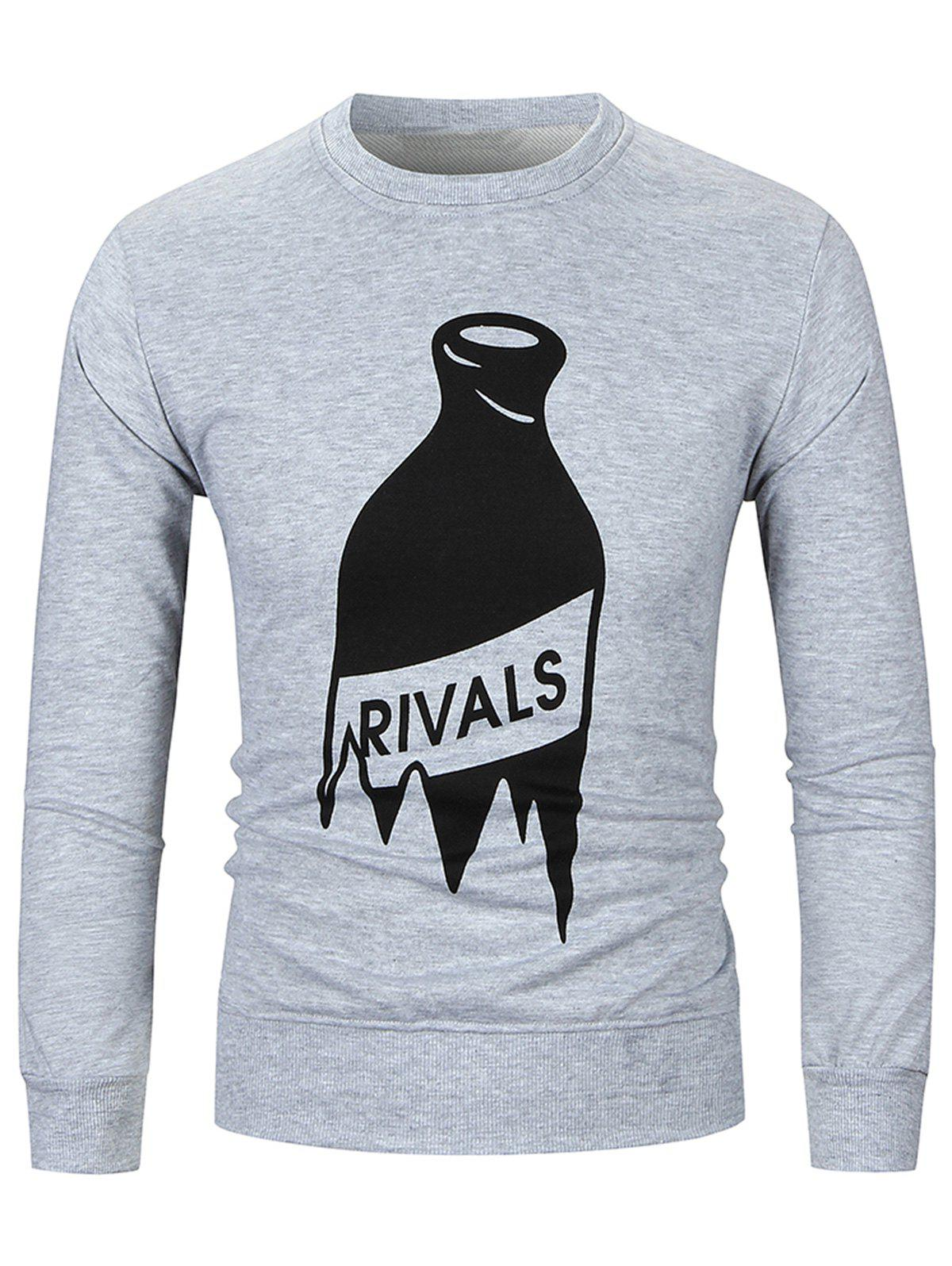 Winebottle Print Crew Neck SweatshirtsMEN<br><br>Size: L; Color: GRAY; Material: Cotton,Polyester; Shirt Length: Regular; Sleeve Length: Full; Style: Fashion; Weight: 0.5300kg; Package Contents: 1 x Sweatshirt;