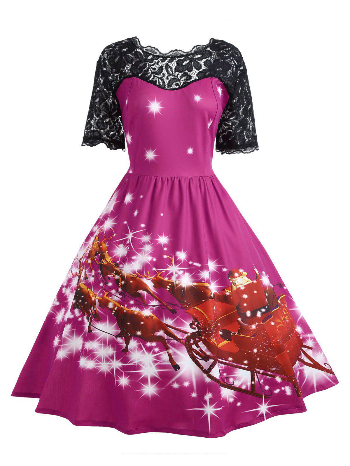 Plus Size Lace Panel Midi Father Christmas Party DressWOMEN<br><br>Size: 4XL; Color: TUTTI FRUTTI; Style: Cute; Material: Cotton Blend,Polyester; Silhouette: Ball Gown; Dresses Length: Mid-Calf; Neckline: Scoop Neck; Sleeve Length: Short Sleeves; Embellishment: Hollow Out,Lace,Vintage; Pattern Type: Animal,Character,Print,Star; With Belt: No; Season: Fall,Winter; Weight: 0.4700kg; Package Contents: 1 x Dress;