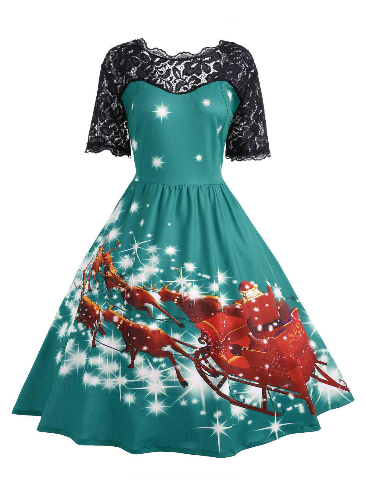 Plus Size Lace Panel Midi Father Christmas Party DressWOMEN<br><br>Size: 3XL; Color: GREEN; Style: Cute; Material: Cotton Blend,Polyester; Silhouette: Ball Gown; Dresses Length: Mid-Calf; Neckline: Scoop Neck; Sleeve Length: Short Sleeves; Embellishment: Hollow Out,Lace,Vintage; Pattern Type: Animal,Character,Print,Star; With Belt: No; Season: Fall,Winter; Weight: 0.4700kg; Package Contents: 1 x Dress;