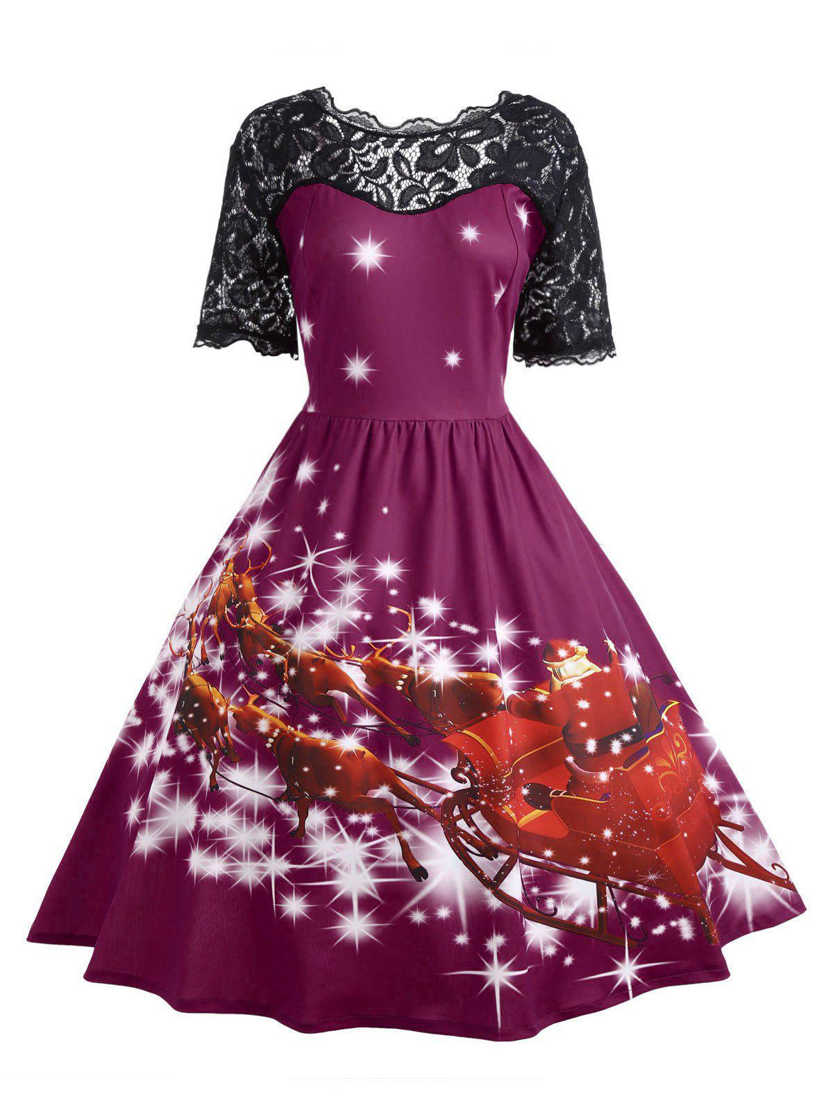 Plus Size Lace Panel Midi Father Christmas Party DressWOMEN<br><br>Size: XL; Color: PURPLISH RED; Style: Cute; Material: Cotton Blend,Polyester; Silhouette: Ball Gown; Dresses Length: Mid-Calf; Neckline: Scoop Neck; Sleeve Length: Short Sleeves; Embellishment: Hollow Out,Lace,Vintage; Pattern Type: Animal,Character,Print,Star; With Belt: No; Season: Fall,Winter; Weight: 0.4700kg; Package Contents: 1 x Dress;