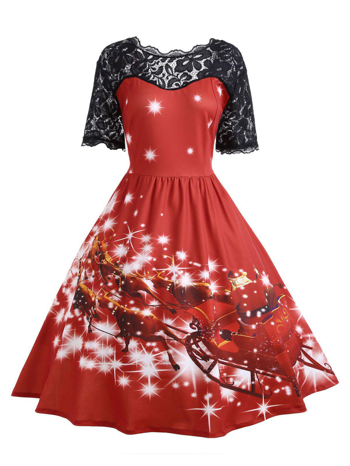 Plus Size Lace Panel Midi Father Christmas Party DressWOMEN<br><br>Size: 5XL; Color: RED; Style: Cute; Material: Cotton Blend,Polyester; Silhouette: Ball Gown; Dresses Length: Mid-Calf; Neckline: Scoop Neck; Sleeve Length: Short Sleeves; Embellishment: Hollow Out,Lace,Vintage; Pattern Type: Animal,Character,Print,Star; With Belt: No; Season: Fall,Winter; Weight: 0.4700kg; Package Contents: 1 x Dress;
