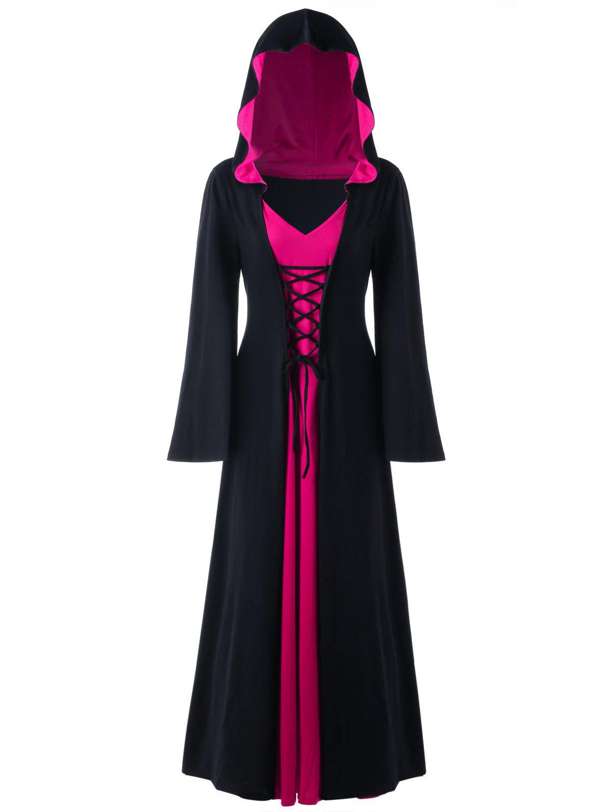 Halloween Plus Size Lace Up Hooded Maxi DressWOMEN<br><br>Size: 5XL; Color: BLACK + ROSE; Style: Novelty; Material: Polyester,Spandex; Silhouette: A-Line; Dresses Length: Ankle-Length; Neckline: Hooded; Sleeve Length: Long Sleeves; Pattern Type: Solid; With Belt: No; Season: Fall,Spring; Weight: 0.6700kg; Package Contents: 1 x Dress;