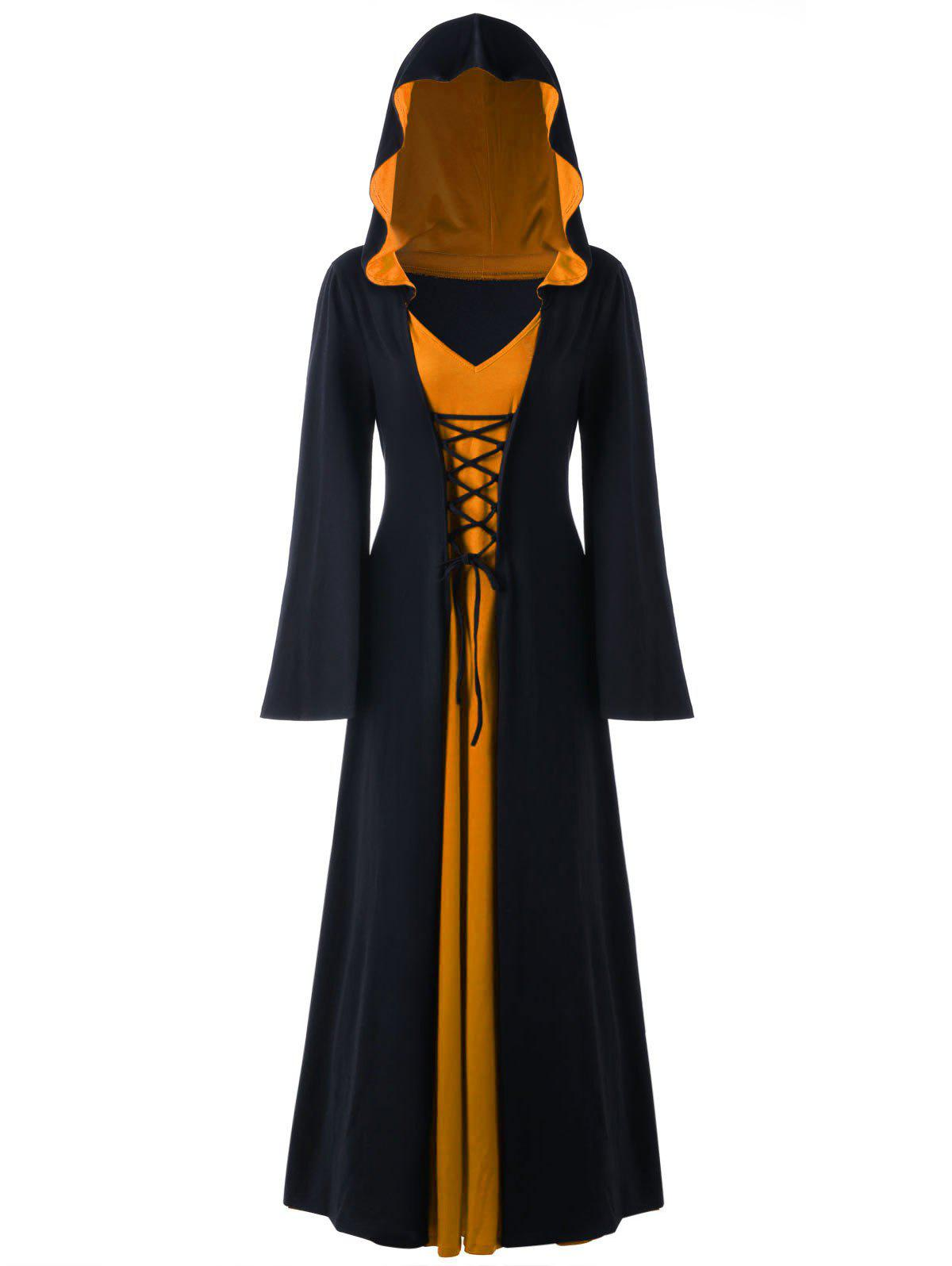 Halloween Plus Size Lace Up Hooded Maxi DressWOMEN<br><br>Size: 5XL; Color: BLACK AND ORANGE; Style: Novelty; Material: Polyester,Spandex; Silhouette: A-Line; Dresses Length: Ankle-Length; Neckline: Hooded; Sleeve Length: Long Sleeves; Pattern Type: Solid; With Belt: No; Season: Fall,Spring; Weight: 0.6700kg; Package Contents: 1 x Dress;