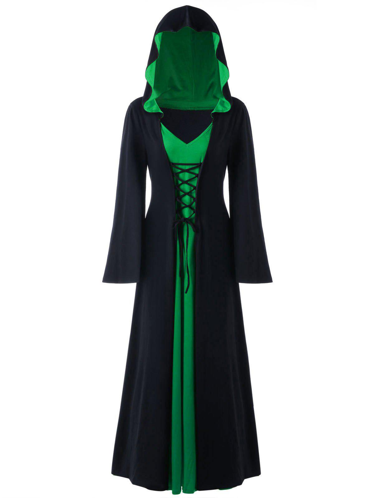 Hot Halloween Plus Size Lace Up Hooded Maxi Dress