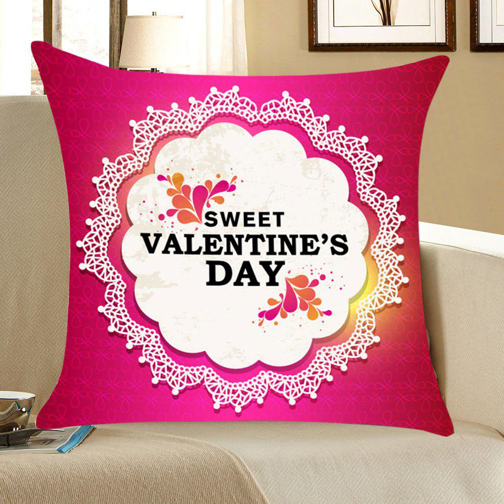 Valentines Day Flowers Patterned Throw Pillow CaseHOME<br><br>Size: W18 INCH * L18 INCH; Color: PINK AND WHITE; Material: Linen; Fabric Type: Linen; Pattern: Floral,Letter; Style: Festival; Shape: Square; Weight: 0.0700kg; Package Contents: 1 x Pillow Case;