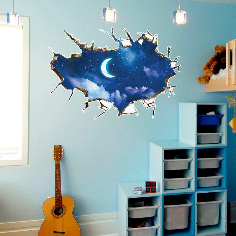 Moon 3D Broken Wall Art Sticker For BedroomHOME<br><br>Size: 60*90CM; Color: BLUE; Wall Sticker Type: 3D Wall Stickers; Functions: Decorative Wall Stickers; Pattern Type: Moon; Material: PVC; Feature: Removable; Weight: 0.1984kg; Package Contents: 1 x Wall Stickers;