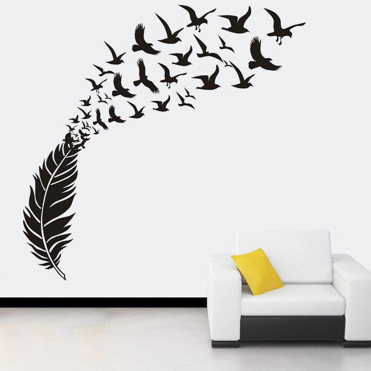 Feather Doves Pattern Wall Art Stickers For BedroomHOME<br><br>Size: 58*100CM; Color: BLACK; Wall Sticker Type: Plane Wall Stickers; Functions: Decorative Wall Stickers; Pattern Type: Animal,Feather; Material: PVC; Feature: Removable; Weight: 0.2100kg; Package Contents: 1 x Wall Stickers;