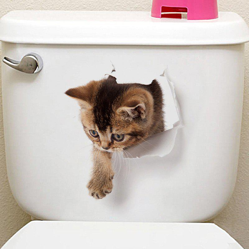 Unique 3D Animal Toilet Closestool Wall Decor Sticker