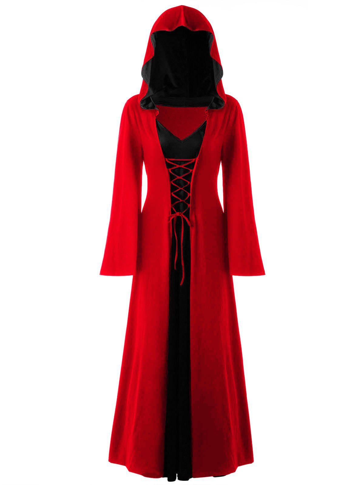 Halloween Plus Size Lace Up Hooded Maxi DressWOMEN<br><br>Size: 2XL; Color: AMERICAN BEAUTY; Style: Novelty; Material: Polyester,Spandex; Silhouette: A-Line; Dresses Length: Ankle-Length; Neckline: Hooded; Sleeve Length: Long Sleeves; Pattern Type: Solid; With Belt: No; Season: Fall,Spring; Weight: 0.6700kg; Package Contents: 1 x Dress;