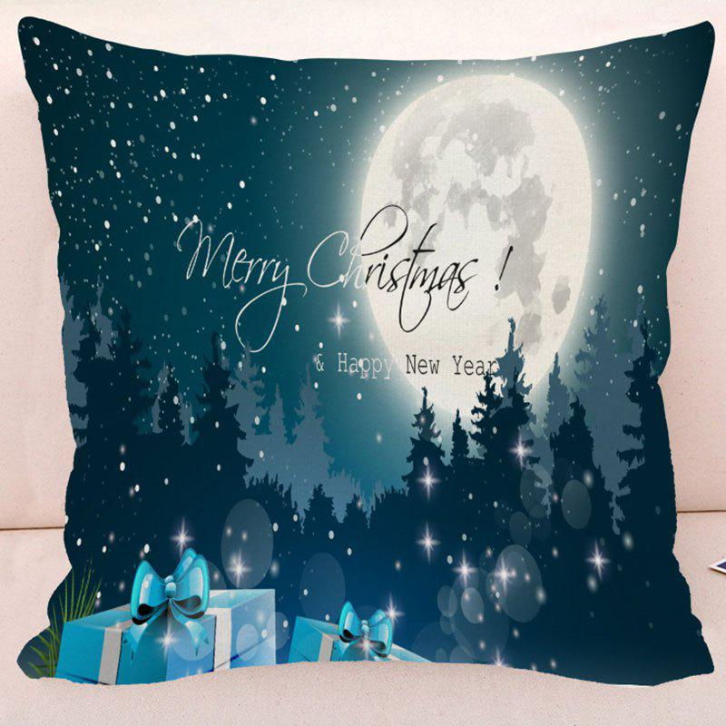 Happy New Year Merry Christmas Gift PillowcaseHOME<br><br>Size: W17.5 INCH * L17.5 INCH; Color: BLUE; Material: Polyester / Cotton; Pattern: Gift; Style: Festival; Shape: Square; Size(CM): 45*45; Weight: 0.1000kg; Package Contents: 1 x Pillow Case;