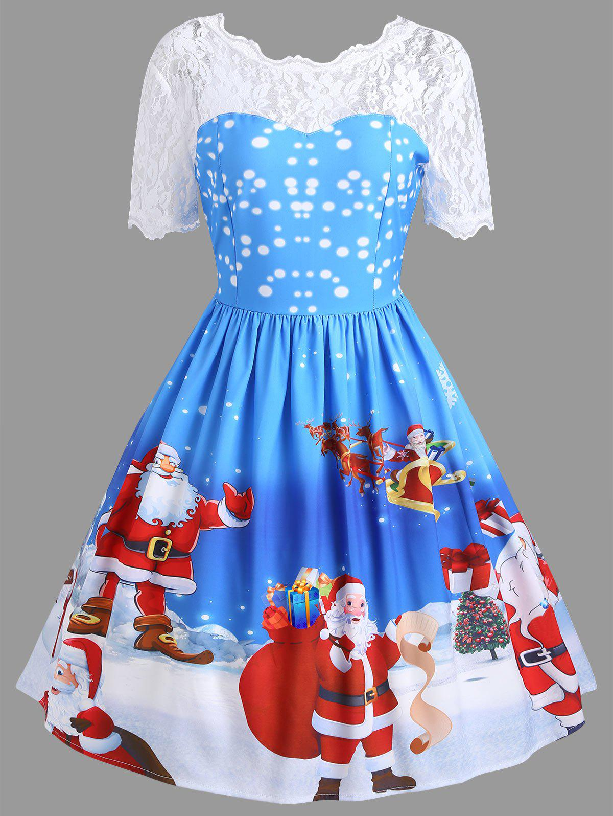 Vintage Lace Insert Santa Claus Print Christmas DressWOMEN<br><br>Size: 2XL; Color: BLUE; Style: Vintage; Material: Polyester,Spandex; Silhouette: A-Line; Dresses Length: Knee-Length; Neckline: Round Collar; Sleeve Length: Short Sleeves; Pattern Type: Patchwork,Print; With Belt: No; Season: Fall,Spring; Weight: 0.3500kg; Package Contents: 1 x Dress;
