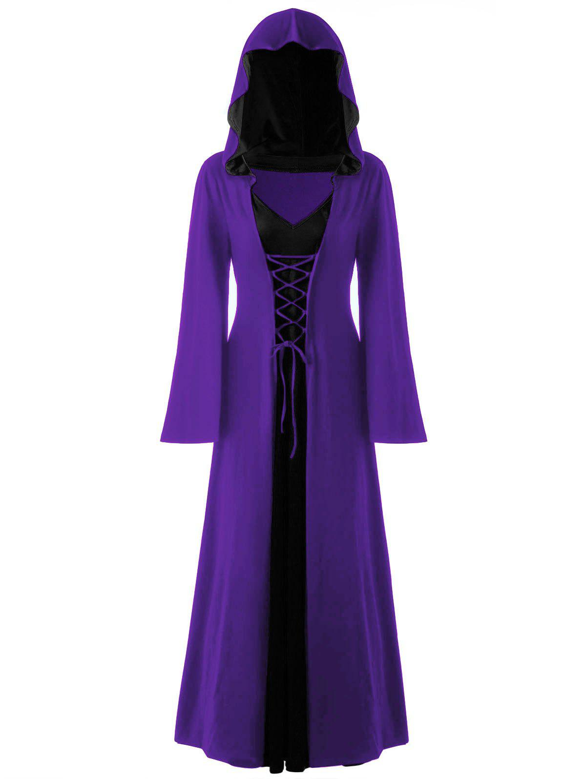 Halloween Plus Size Lace Up Hooded Maxi DressWOMEN<br><br>Size: 5XL; Color: CONCORD; Style: Novelty; Material: Polyester,Spandex; Silhouette: A-Line; Dresses Length: Ankle-Length; Neckline: Hooded; Sleeve Length: Long Sleeves; Pattern Type: Solid; With Belt: No; Season: Fall,Spring; Weight: 0.6700kg; Package Contents: 1 x Dress;