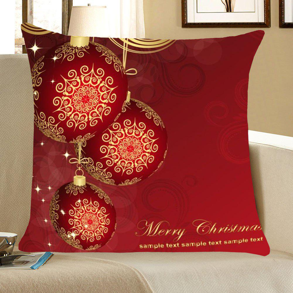 Christmas Balls Pattern Throw Pillow CaseHOME<br><br>Size: W18 INCH * L18 INCH; Color: DEEP RED; Material: Linen; Fabric Type: Linen; Pattern: Printed; Style: Festival; Shape: Square; Weight: 0.0700kg; Package Contents: 1 x Pillow Case;