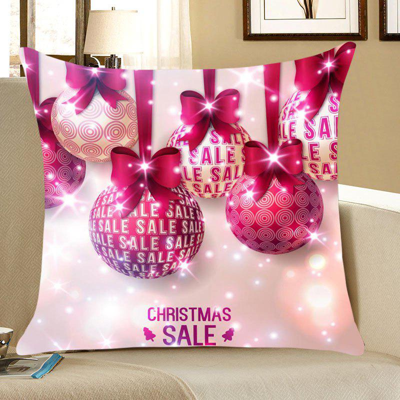 Christmas Bowknot Balls Patterned Throw Pillow CaseHOME<br><br>Size: W18 INCH * L18 INCH; Color: TUTTI FRUTTI; Material: Linen; Fabric Type: Linen; Pattern: Printed; Style: Festival; Shape: Square; Weight: 0.0700kg; Package Contents: 1 x Pillow Case;
