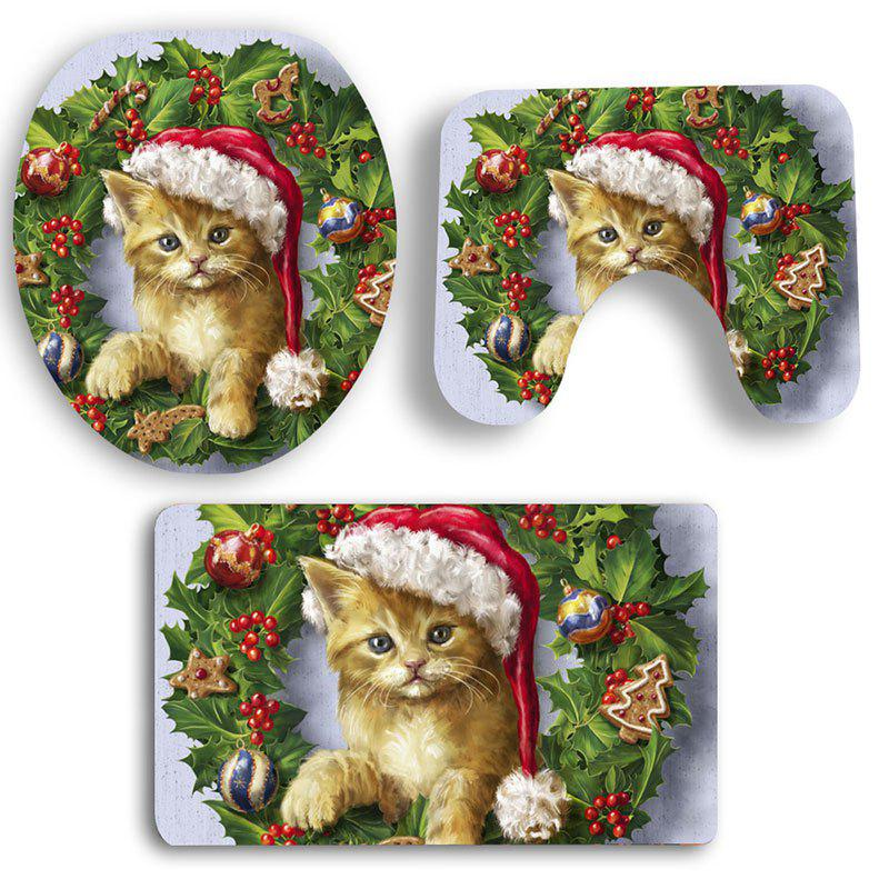 Shop Nonslip Christmas Cat Pattern 3Pcs Bath Toilet Mats Set