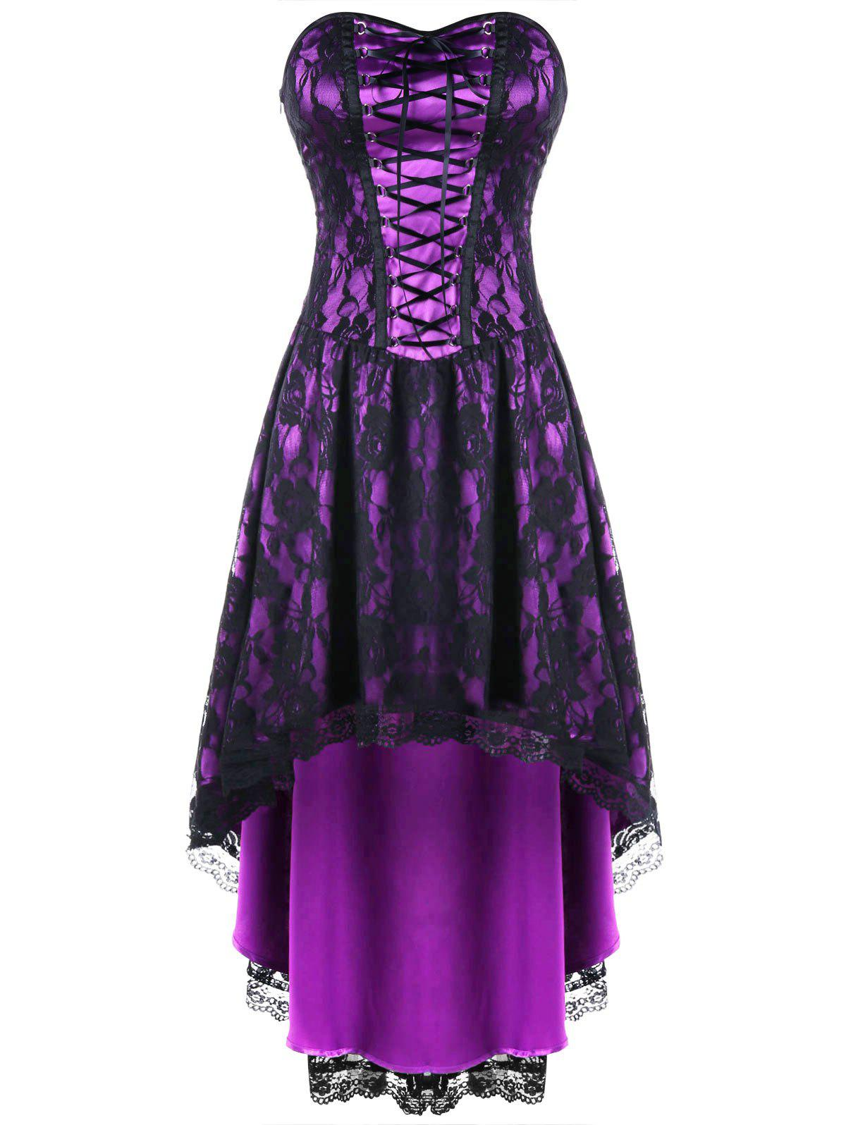 Lace Up Strapless Dip Hem Corset DressWOMEN<br><br>Size: XL; Color: BLACK AND PURPLE; Style: Vintage; Material: Nylon,Spandex; Silhouette: A-Line; Dresses Length: Knee-Length; Neckline: Strapless; Sleeve Length: Sleeveless; Embellishment: Lace; Pattern Type: Floral; With Belt: No; Season: Fall,Spring; Weight: 0.4000kg; Package Contents: 1 x Dress;