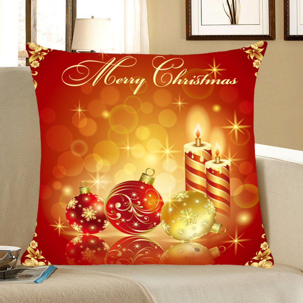 Christmas Snowflakes Balls And Candles Printed Throw Pillow CaseHOME<br><br>Size: W18 INCH * L18 INCH; Color: RED AND YELLOW; Material: Linen; Fabric Type: Linen; Pattern: Letter,Printed,Snowflake; Style: Festival; Shape: Square; Weight: 0.0700kg; Package Contents: 1 x Pillow Case;