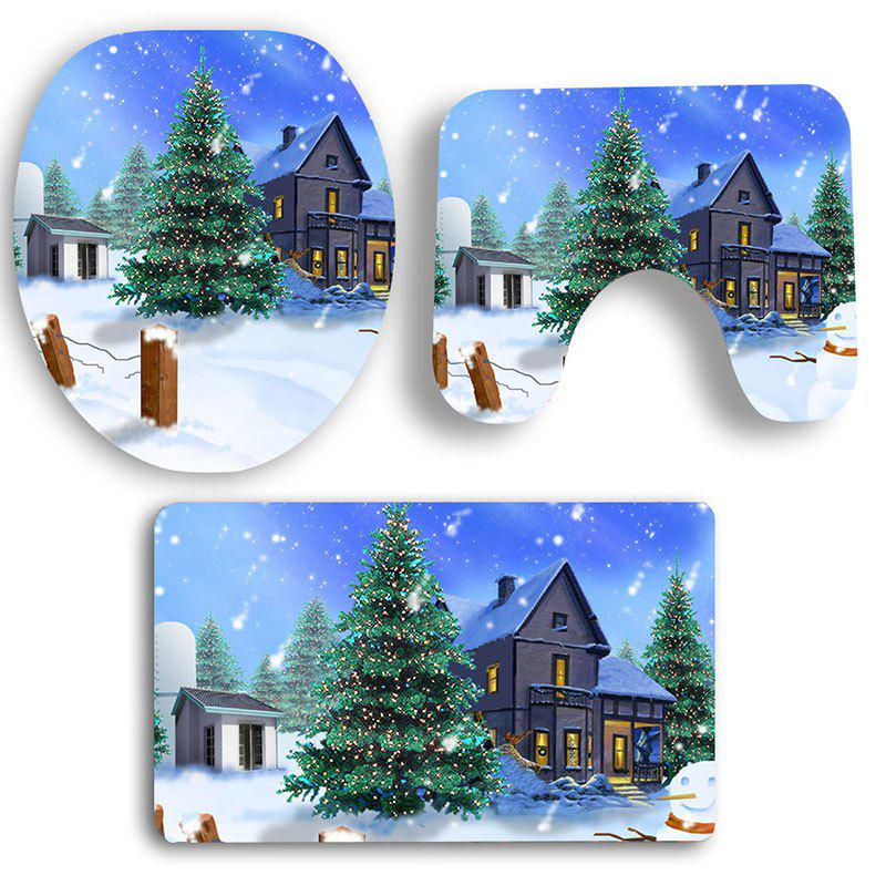 Nonslip Christmas Snowscape Pattern 3Pcs Bath Toilet Mats SetHOME<br><br>Color: COLORFUL; Products Type: Toilet Mat Set; Materials: Coral FLeece; Pattern: Christmas Tree; Style: Festival; Size: Pedestal Rug: 40*40CM, Lid Toilet Cover: 40*45CM, Bath Mat: 40*60CM; Package Contents: 1 x Pedestal Rug 1 x Lid Toilet Cover 1 x Bath Mat;