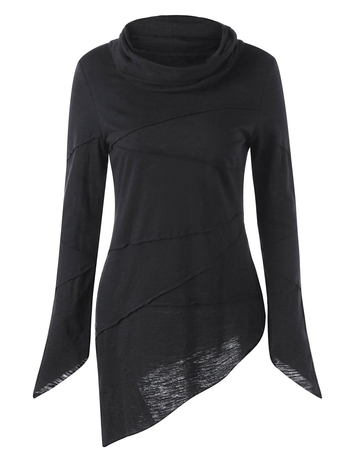 Heaps Collar Long Sleeve Asymmetric T-shirtWOMEN<br><br>Size: L; Color: BLACK; Material: Cotton,Spandex; Shirt Length: Long; Sleeve Length: Full; Collar: Heaps Collar; Style: Fashion; Pattern Type: Solid; Season: Fall,Spring; Weight: 0.2700kg; Package Contents: 1 x T-shirt;