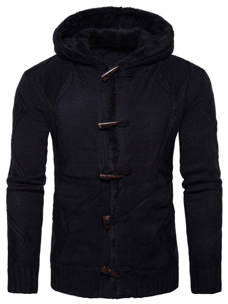 Horn Button Fleece Knitted JacketMEN<br><br>Size: L; Color: BLACK; Clothes Type: Jackets; Style: Casual,Fashion,Streetwear; Material: Cotton,Polyester; Collar: Hooded; Shirt Length: Regular; Sleeve Length: Long Sleeves; Season: Winter; Closure Type: Single Breasted; Occasion: Casual ,Daily Use,Going Out,Holiday; Weight: 0.8300kg; Package Contents: 1 x Jacket;