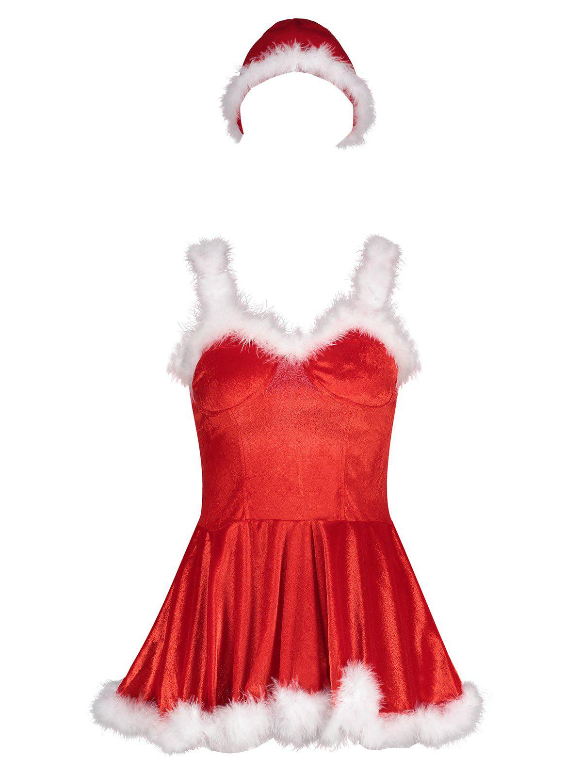Velvet Feather Trim Christmas Costume DressWOMEN<br><br>Size: S; Color: RED; Age Group: Adult; Characters: Holiday; Sleeve Length: Sleeveless; Fabric Type: Velour; Material: Polyester; Weight: 0.3300kg; Package Contents: 1 x Dress  1 x Hat;