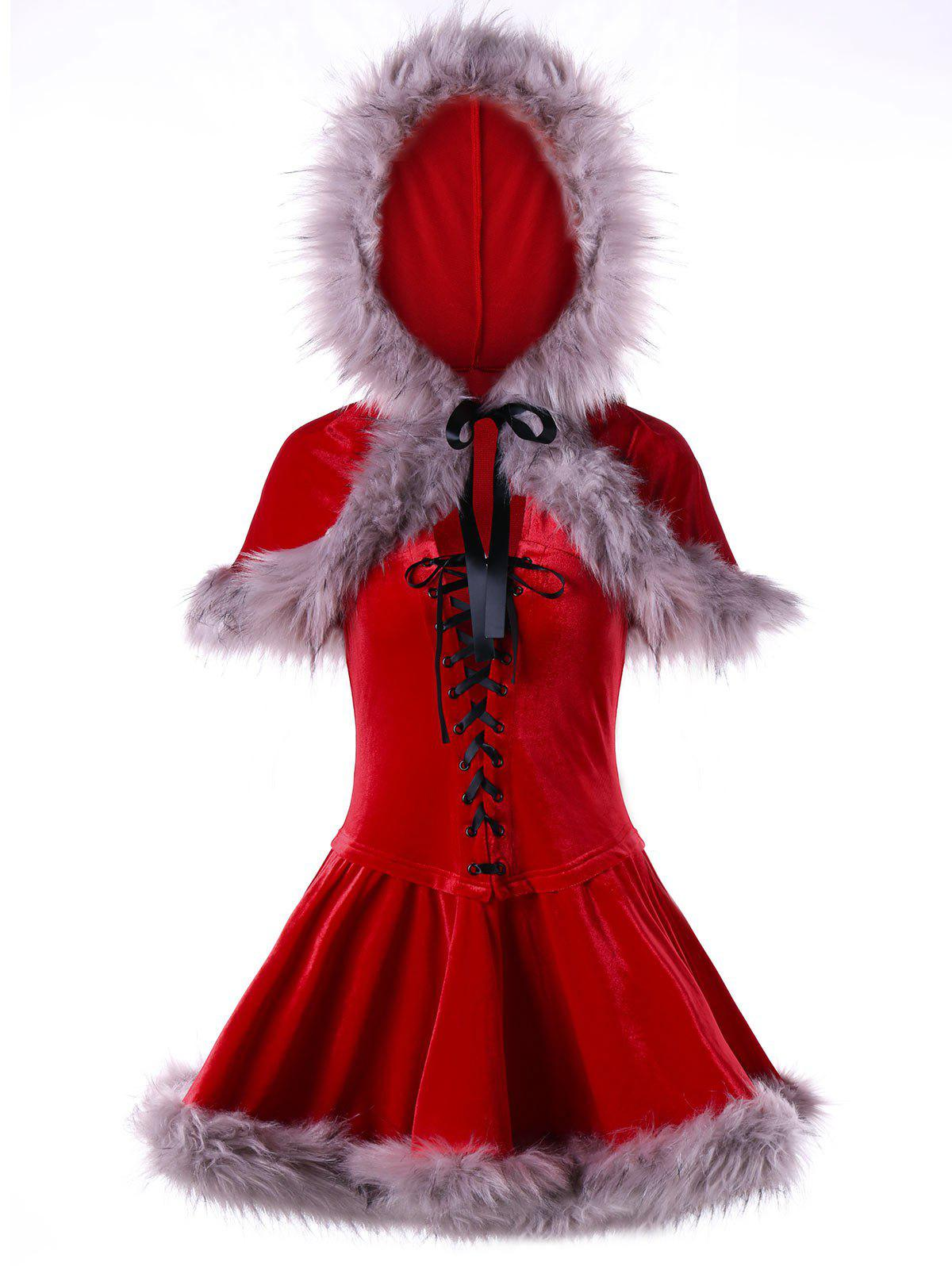 Ugly Christmas Lace Up Velvet Cape DressWOMEN<br><br>Size: XL; Color: RED; Style: Cute; Material: Polyester; Silhouette: A-Line; Dresses Length: Mini; Neckline: Convertible Collar; Sleeve Length: Sleeveless; Pattern Type: Others; With Belt: No; Season: Fall,Winter; Weight: 0.6770kg; Package Contents: 1 x Dress  1 x Cape;