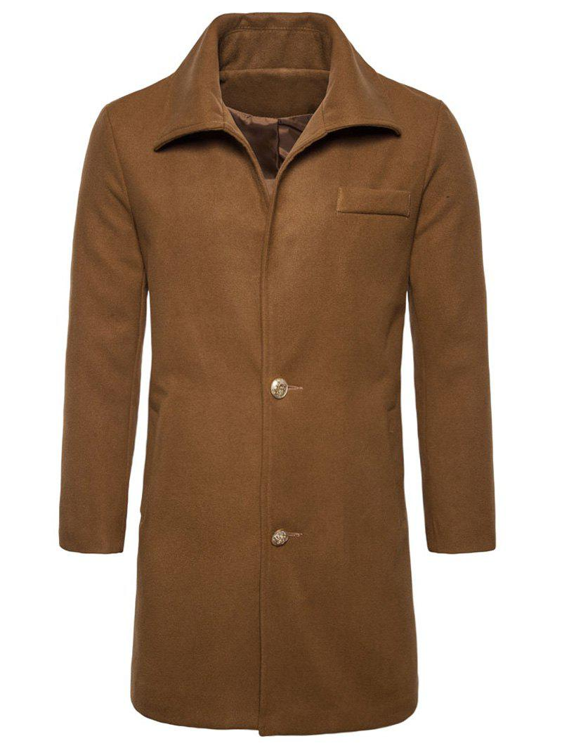 Trendy Single Breasted Edging Woolen Coat