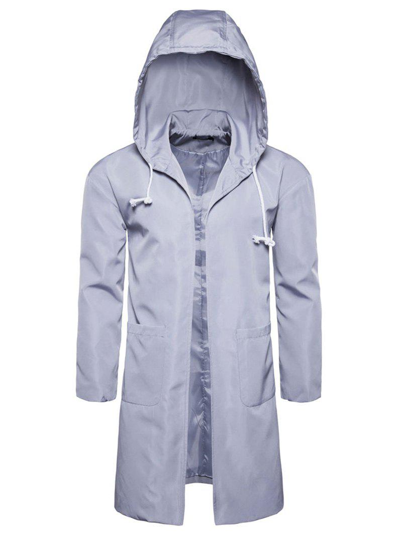 Online Open Front Drawstring Polyester Coat