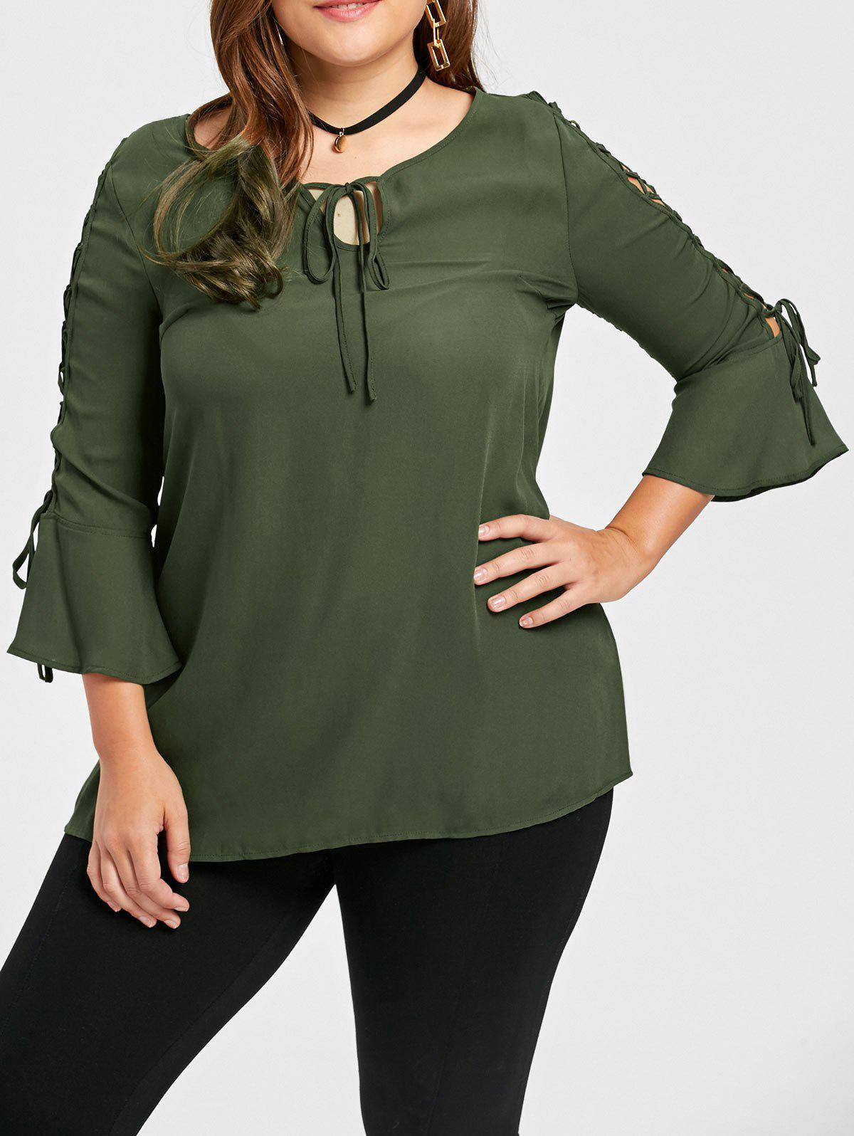 Bell Sleeve Lace Up Plus Size BlouseWOMEN<br><br>Size: 5XL; Color: OLIVE GREEN; Material: Polyester; Shirt Length: Regular; Sleeve Length: Three Quarter; Collar: Round Neck; Style: Fashion; Season: Fall,Spring; Sleeve Type: Flare Sleeve; Pattern Type: Solid; Weight: 0.2100kg; Package Contents: 1 x Blouse;
