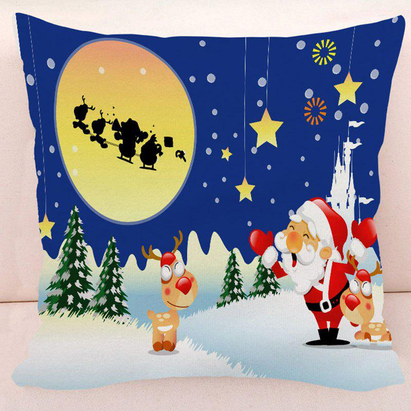 Christmas Santa Deer Star Pillow CaseHOME<br><br>Size: W17.5 INCH * L17.5 INCH; Color: BLUE; Material: Polyester / Cotton; Pattern: Santa Claus; Style: Festival; Shape: Square; Size(CM): 45*45; Weight: 0.1000kg; Package Contents: 1 x Pillow Case;