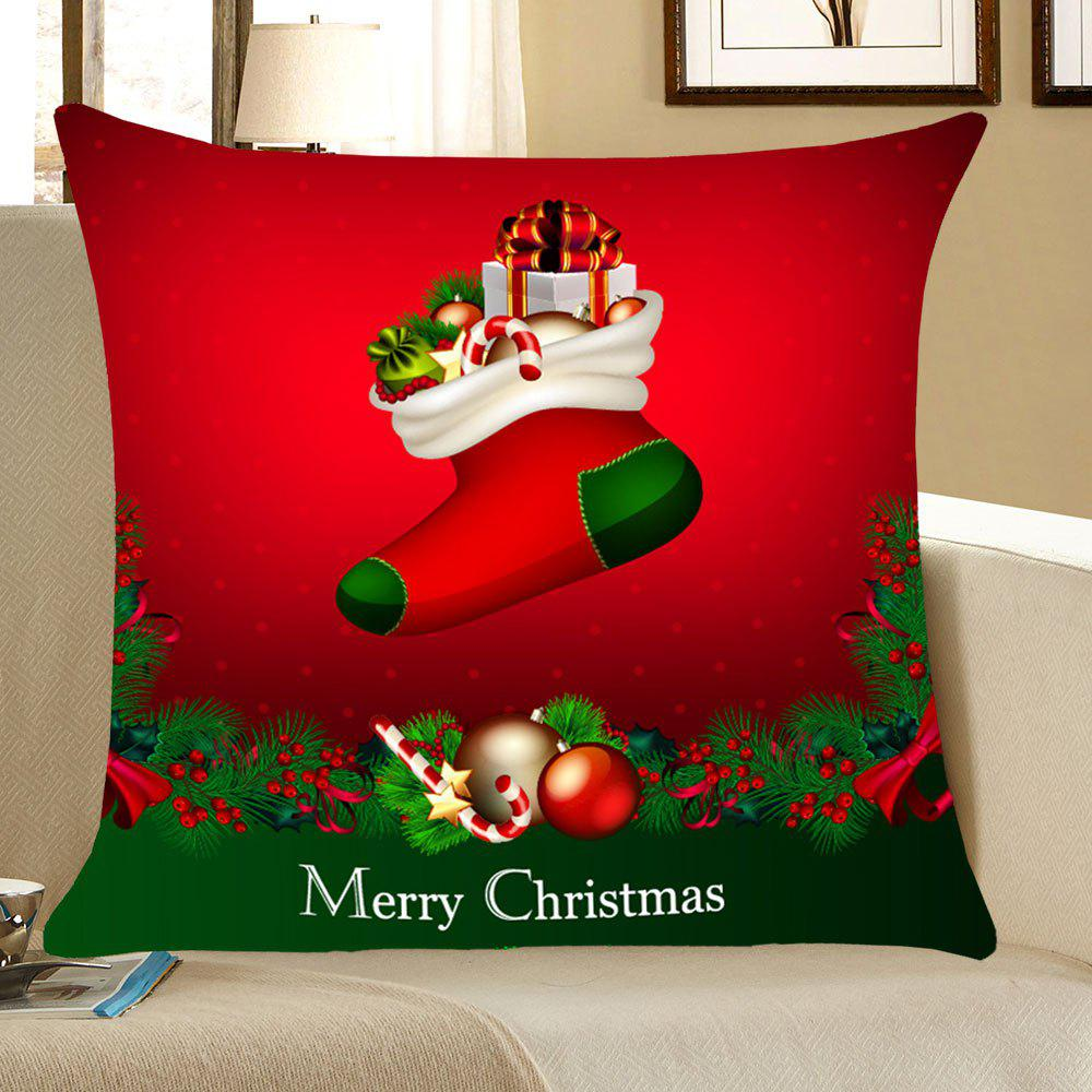 Christmas Socks Gifts Patterned Throw Pillow CaseHOME<br><br>Size: W18 INCH * L18 INCH; Color: RED AND GREEN; Material: Linen; Fabric Type: Linen; Pattern: Gift,Printed; Style: Festival; Shape: Square; Weight: 0.0700kg; Package Contents: 1 x Pillow Case;