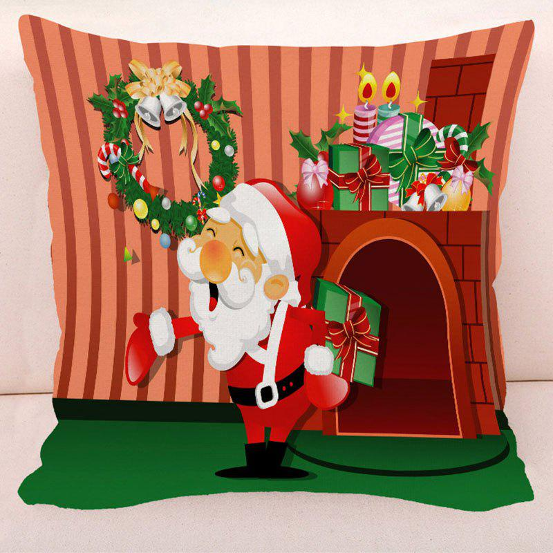 Christmas Wreath Santa Bells Gifts PillowcaseHOME<br><br>Size: W17.5 INCH * L17.5 INCH; Color: RED; Material: Polyester / Cotton; Pattern: Santa Claus; Style: Festival; Shape: Square; Size(CM): 45*45; Weight: 0.1000kg; Package Contents: 1 x Pillow Case;
