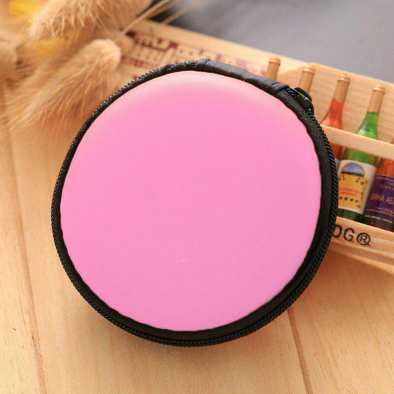 Earphone Zipper Round Storage CaseHOME<br><br>Color: PINK; Type: Other Accessories; Material: PU; Style: Trendy; Pattern: Solid; Weight: 0.0448kg; Package Contents: 1 x Storage Case;