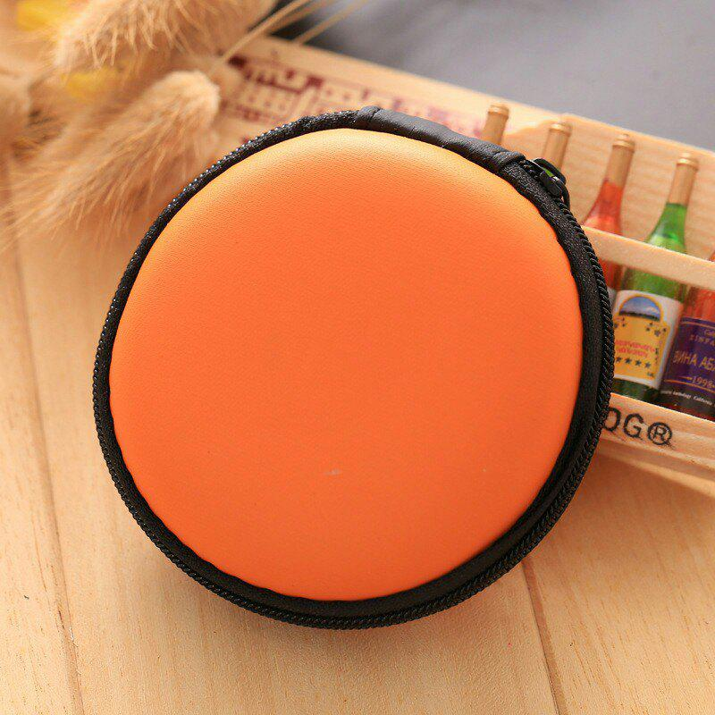 Earphone Zipper Round Storage CaseHOME<br><br>Color: ORANGE; Type: Other Accessories; Material: PU; Style: Trendy; Pattern: Solid; Weight: 0.0448kg; Package Contents: 1 x Storage Case;