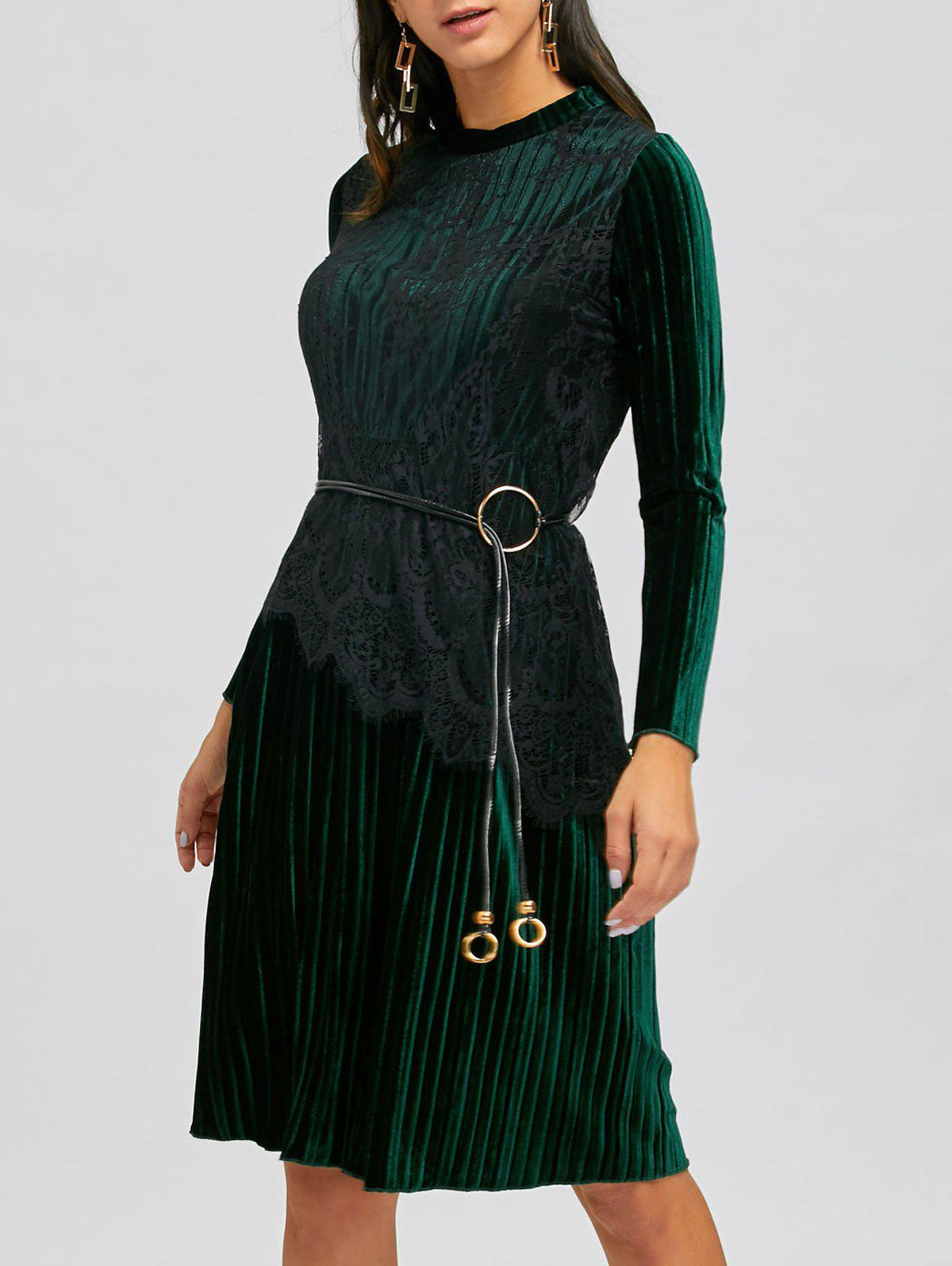 Chic Long Sleeve Lace Insert Velvet Midi Pleated Dress