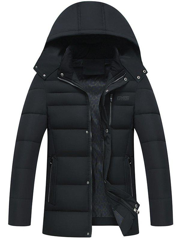 Chic Zip Up Detachable Hood Padded Coat