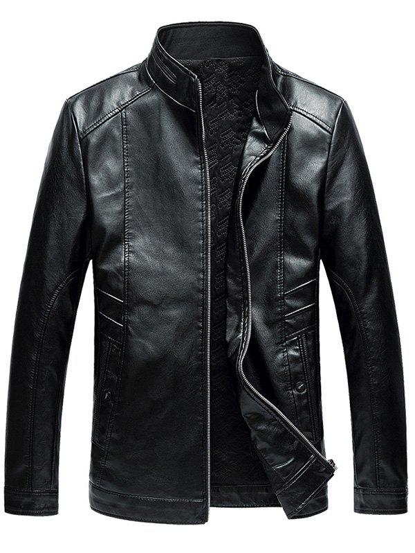 Stand Collar Zip Up Faux Leather JacketMEN<br><br>Size: 4XL; Color: BLACK; Clothes Type: Leather &amp; Suede; Style: Casual,Fashion,Punk; Material: Polyester,PU; Collar: Stand Collar; Shirt Length: Regular; Sleeve Length: Long Sleeves; Season: Winter; Closure Type: Zipper; Crafts: Sewing; Occasion: Casual,Going Out; Weight: 1.2500kg; Package Contents: 1 x Jacket;